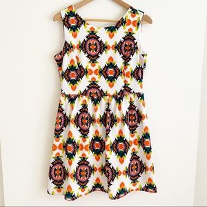 Freeway Sleeveless Aztec Fit & Flare Mini Dress L